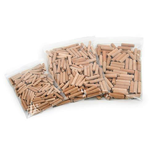 Holzdübel Set   Riffelholzdübel 500er Packung   Dübel aus Buche   Ideal geeignet für Dübelfräse Lamellofräse Meisterdübler (Set 6 8 10 mm)