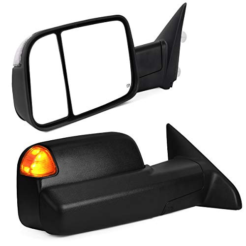 YITAMOTOR Towing Mirrors Compatible with Dodge Ram 2013-2018 1500 2500 3500, Tow Mirrors with Power Heated LED Turn Signal Light Puddle Lamp