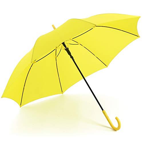 RUMBRELLA Yellow Umbrella Auto Open with J Hook Handle, 50IN Stick Umbrellas Windproof