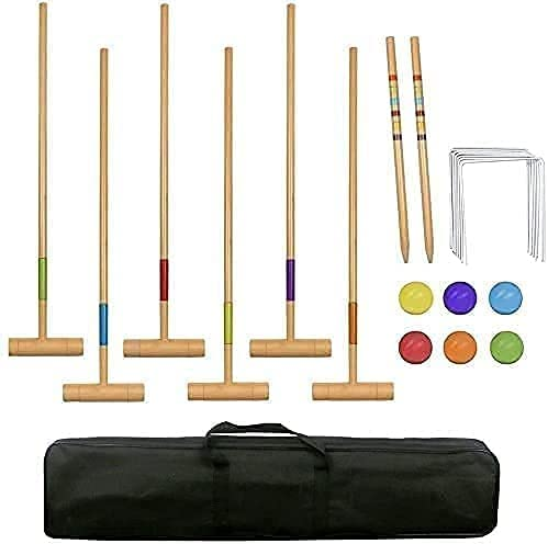 SZDYQ Ranking TOP16 Six Player trust Croquet Set with Wooden Mallets Wickets Balls
