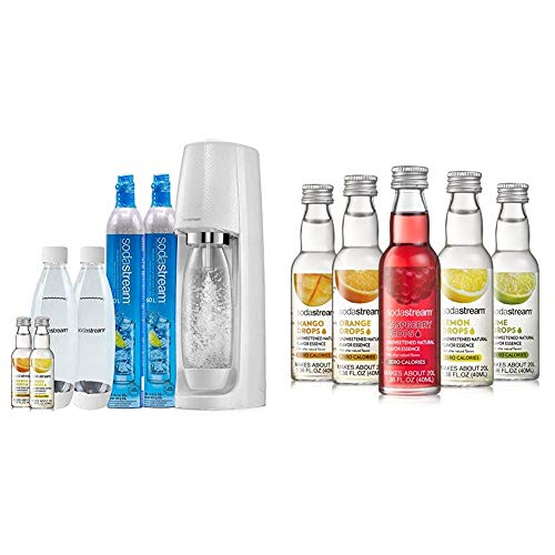 SodaStream Fizzi Sparkling Water Maker Bundle (Red), with CO2, BPA free Bottles, and 0 Calorie Fruit Drops Flavors
