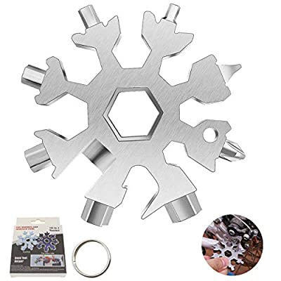 18-in-1 Snowflake Multi Tool, Stainless Steel Snowflake Multitool, Snowflake Wrench & Screwdriver Multi Tool for Men Bottle Opener Multi-Tool for Travel Camping Adventure Daily Tool (Silver)