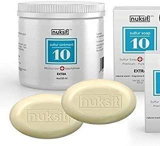 Swiss 3 Pack - Nuksit Sulfur Ointment and two bars Nuksit 10% Sulfur Soap