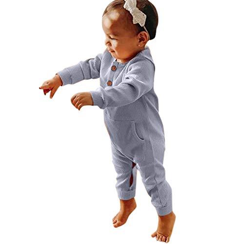 Julhold Neugeborenes Baby Mädchen Junge Niedlich Lässig Langarm Feste Tasche Schlank Strampler Overall Kleidung 0-24 Monate