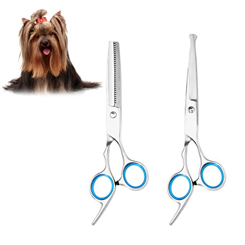 UEETEK 2pcs Hoja de acero inoxidable afilada y fuerte Perro Gato Grooming Tijeras Pet Grooming Kit