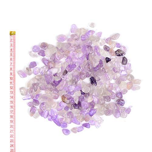 Georgie Porgy Decoración Grava Cristal Rocas Guijarros Acuario Piedra Triturada Aquarium Grava para Hogar Jardín Regalos (Amatista Ligera 8-12 mm 0.95 Libras)