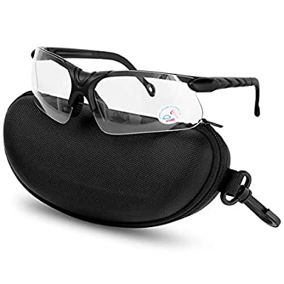 XAegis Shooting Glasses with Case, Polycarbonate Lens and Rubber Nose Padding Anti Fog Hunting Safety Glasses for Men & Women - Eye Protection,Clear Lens