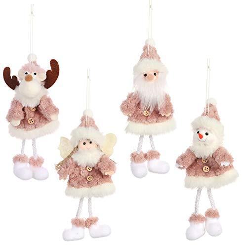 Adornos decoración colgante muñecos para árbol de Navidad 4Piezas Adornos árbol Navidad Colgantes Muñecos Papá Noel...