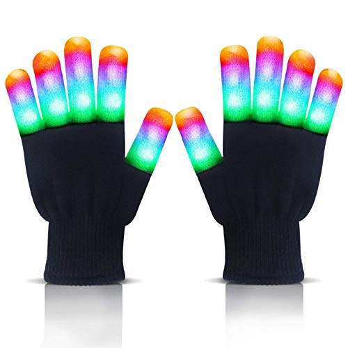 LANIAKEA Led Gloves Light Up Gloves - Led Flashing Gloves - Finger Glovesfor Halloween Novelty, Clubbing Birthday Party- Party SuppliesToys