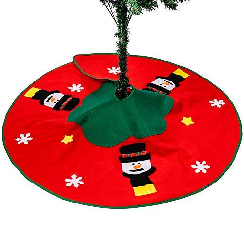 Weihnachten Schneemann Motiv Baumrock Saisonale Dekoration Weihnachtsbaumdecke - Weihnachtsbaum - Perfekt für Weihnachtsfeier Dekoration Basis Rund um den Baum Christbaumständer 100cm Durchmesser
