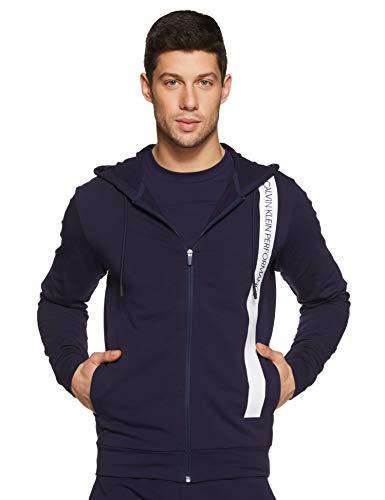 Calvin Klein Performance Bold Stripe Stretch Fleece Regular Fit Zip Through Hoodie (4mh8j421469_Evening Blue/Bright White_Large)