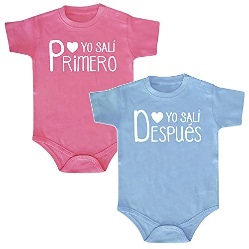 ClickInk Pack 2 bodys. Yo salí primero. Regalo gemelos, regalo mellizos, regalo bebé, set de bodys de bebé. (2 rosas, 3 meses)