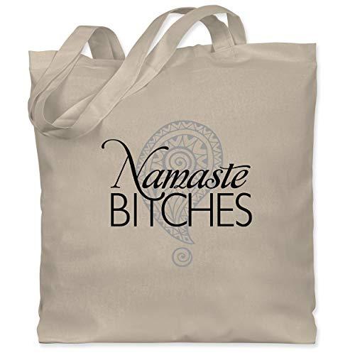 Shirtracer Wellness, Yoga & Co. - Namaste BITCHES - Unisize - Naturweiß - nikolausgeschenk damen - WM101 - Stoffbeutel aus Baumwolle Jutebeutel lange Henkel