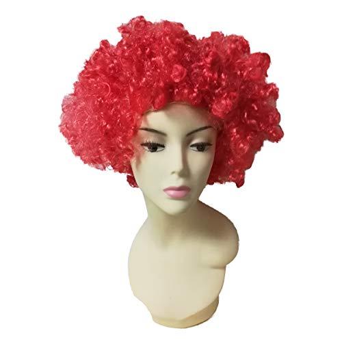 Cisne 2013, S.L. Peluca Unisex Pelo Rizado Afro Corto para Hombre o Mujer para Fiesta Disfraz. Peluca Rizos Afro Carnaval Mujer Hombre Varios diseos a Elegir. Color Rojo.