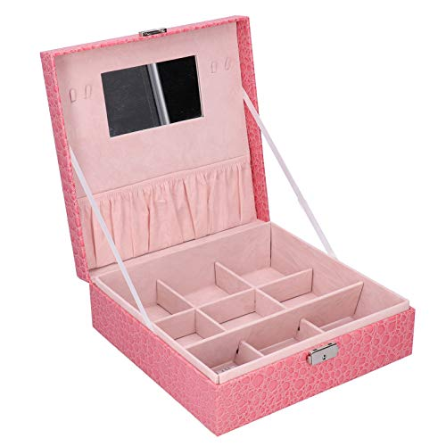 HERCHR Jewelry Boxes for Women, Jewelry Case for Necklace Earrings Rings Bracelets Watch Storage, 10.6 x 10.6 x 3.5inch