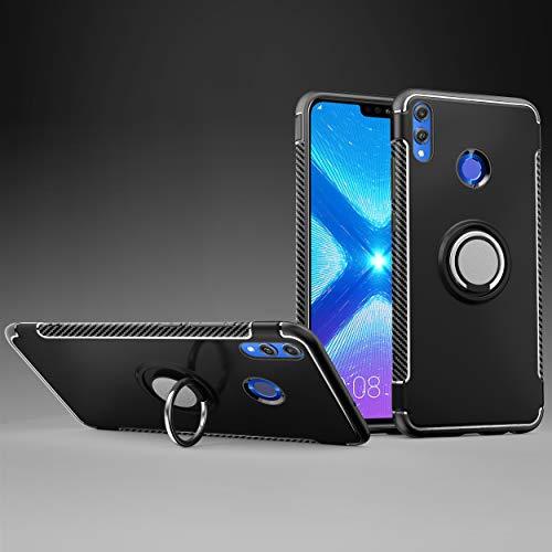 Labanema Honor 8X Funda, 360 Rotating Ring Grip Stand Holder Capa TPU + PC Shockproof Anti-rasguños teléfono Caso protección Cáscara Cover para Huawei Honor 8X /Honor View 10 Lite - Negro