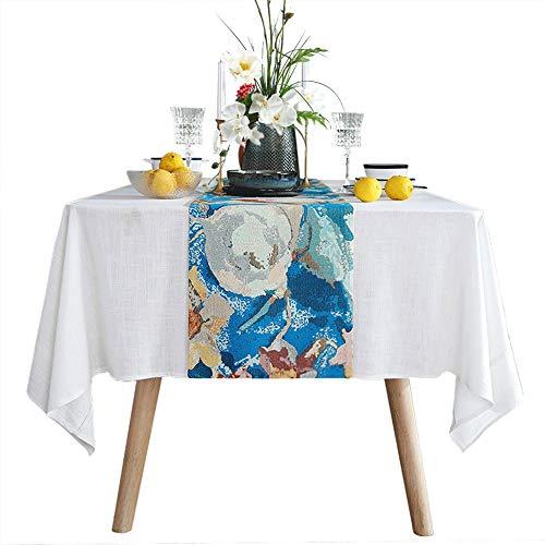 Xyanzi Camino de mesa con flecos Fringe Table Runner, Simplicidad Moderna Pintura Al Óleo Restaurante Comedor Mesa Corredor Camino de Mesa para Decoracion de Mesa para Mesa de Comedor Decoraciones par