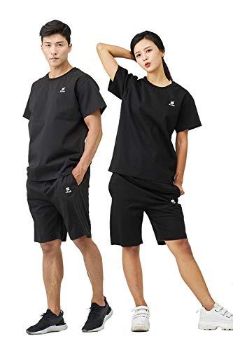 stan サウナスーツ メンズ レディース ダイエット[スポーツトレーナーが考えた大量発汗サウナスーツ] 洗濯可 おしゃれ 大きいサイズ 男女兼用 ウインドブレーカー 上下セット[半袖] (ブラック,M)