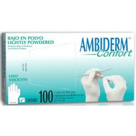Guante de Latex Ambiderm Confort, caja con 100 guantes desechables, Bajo de Polvo para exámen, Liso, ambidiestros, no estéril (Mediano - Blanco)