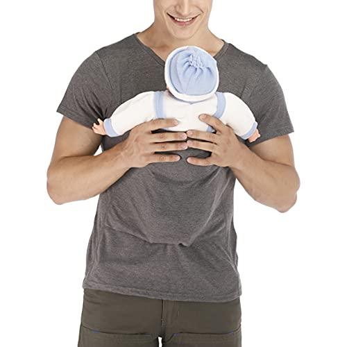 Rosie Kangaroo Dad Men's T-Shirt Short-Sleeved Stretchy Infant Sling Baby Carrier Shirt 2 in 1 Big Pocket,Gray,M
