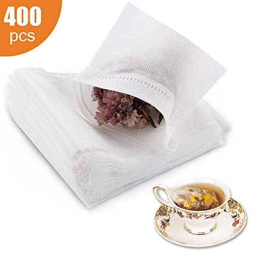 400 Pcs Disposable Tea Filter Bags Empty Cotton Drawstring Seal Filter Tea Bags for Loose Leaf Teal(3.54 x 2.75 inch) (400PCS)