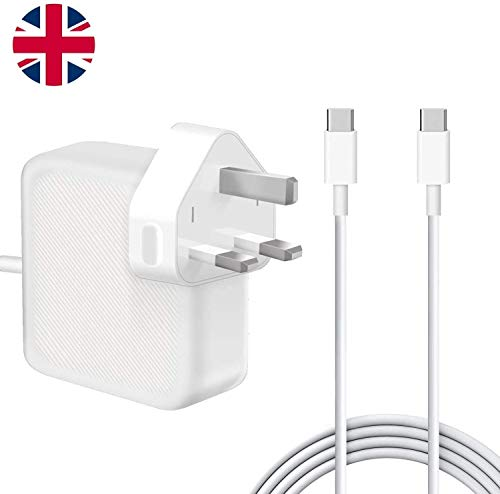 61W USB-C Power Adapter, Compatible with Macbook Pro 11''&13 Inch 2016 2017 2018 2019 and Smartphones&Tablets with USB C and Type C Ports, with 2M C-USB-C Charger cables.