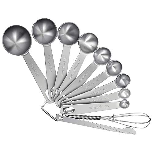 Measuring Spoons Set (Set of 11) Stainless Steel Measuring Spoons for Dry and Liquid Ingredients, Cooking and Baking