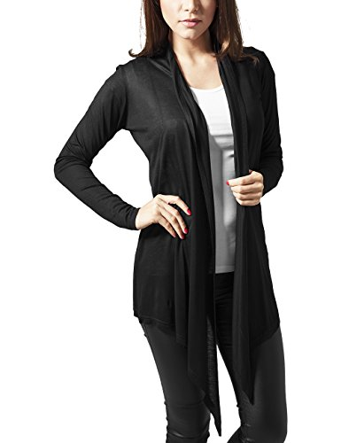 Urban Classics Damen Ladies Viscose Cardigan Mantel, Schwarz (Black 7), 34 (Herstellergröße: XS)