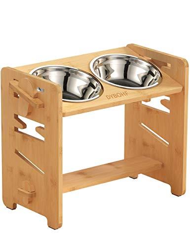 Ciotole per cani elevate Mangiatoia per Cani supporto rialzato in legno Cani di Cani di piccola, media e grande taglia, Viene fornito con 2 ciotole in acciaio inossidabile e tappetino antiscivolo