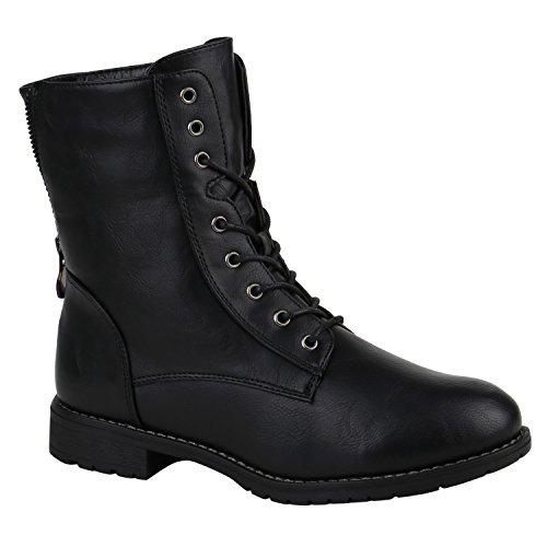 Damen Schuhe Schnürstiefeletten Profilsohle Stiefeletten Leder-Optik 152185 Schwarz Schleife 37 Flandell