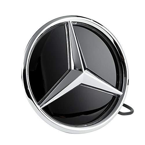 Motorfox Eemblem Led Badge White Light Car Star Logo Front Shiny Silver Grill Including easy connection kit GLC GLS GLE