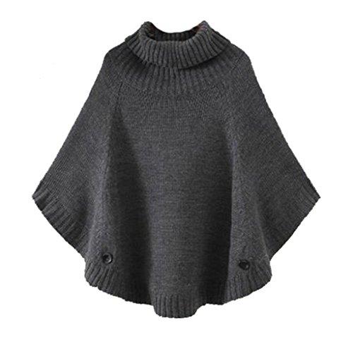 Cheerlife Mädchen Damen Grobstrick Poncho Pullover Strick Cape Umhang Fledermaus Sweater Top Strickpullover Rollkragen Grau