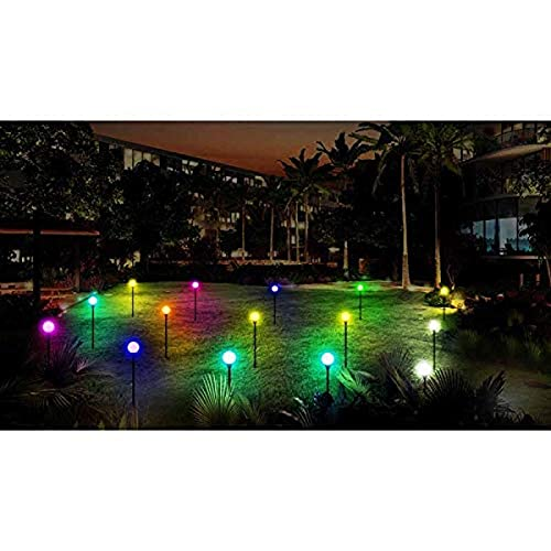 Aurio Multi-Color Path Light Set with Bluetooth Speakers, 15 Garden Light Show Stakes with Bluetooth Music Pairing and Remote Control, 131 Functions, 45 ft. Total Length
