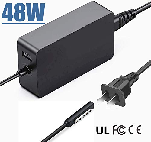 Charger 48W 12V 3.6A AUKEH Power Supply Adapter For Microsoft Surface RT/2 Surface Pro 1 Surface Pro 2 1536 Tablet PC with USB Port and 6.5ft Power Cord
