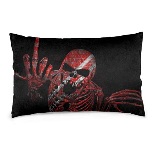 Leisure-Time Rectangle Throw Pillowcase Fuck You Skull Black Red Home Decor Decorative 20x30 Inch