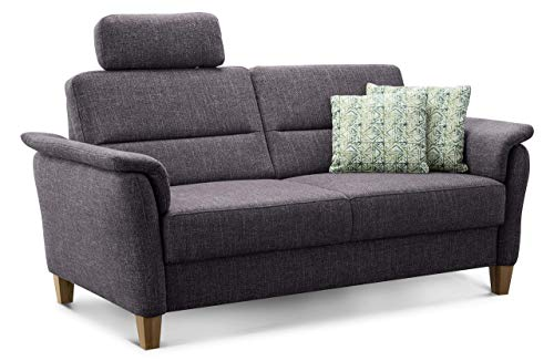 Cavadore 3er Sofa Palera mit Federkern, Couch 3-sitzig passend zu Sofagarnitur Palera, 179 x 89 x 89, stoff anthrazit