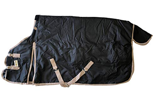 AJ Tack Wholesale Horse Turnout Blanket Rug Water Proof Ripstop 1200 Denier Heavy Weight 400g Fill Black Size 80