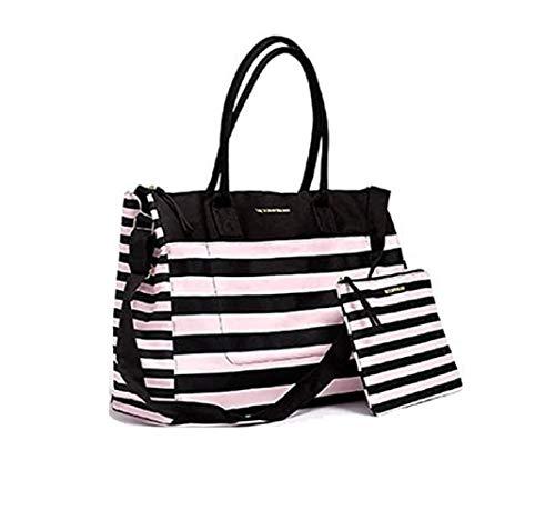 Victorias Secret Weekend Travel Tote Bag & Cosmetics Bag Pink Stripe