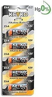 A23 Battery 12V Alkaline 55 mAh - 5-Pcs Pack - for Garage Doors Opener, Ceiling Fans & Wireless Doorbells Remotes Type: 12 Volt MN21 23GA 21/23 GP23AE A23G A23S MIYAK