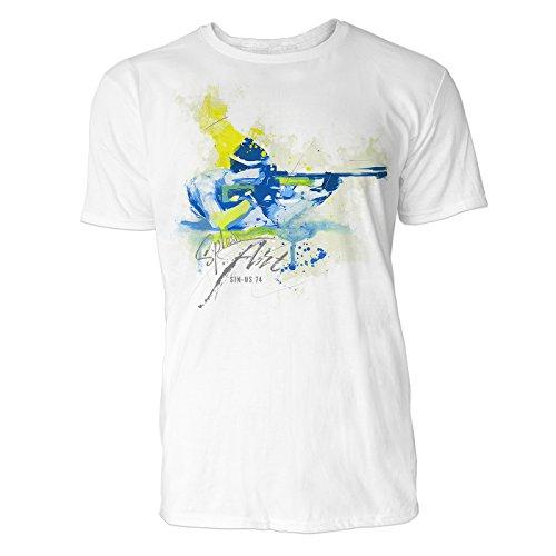 Biathlon schot in ligstoel Sinus Art heren T-shirt (wit) Crewneck Tee met frontartwork