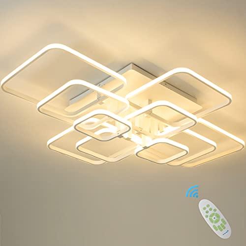 10 lámparas plafón moderno lámpara blanca semilámpara instalación moderna tipo lámpara LED regulable 3000 K-6000 K con mando a distancia luminoso dormitorio salón