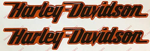 Dezal Harley Davidson Logo-sticker paar hars zwart oranje 3D-effect voor tank of cASCO