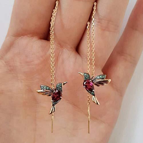 CXWK Vintage Bird Pendant Drop Earrings Long Tassel Crystal Pendant Earrings Ladies Women Jewelry Design