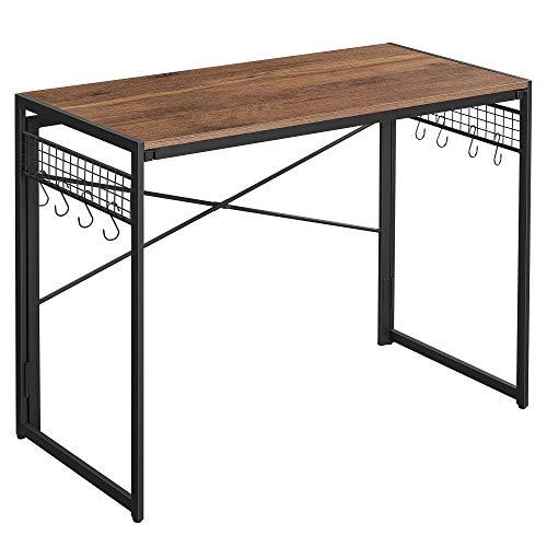 VASAGLE Computertisch, klappbarer Schreibtisch mit 8 Haken, Arbeitsstation, kein Werkzeug erforderlich, Industrie-Design, für Homeoffice, Laptop und PC, haselnussbraun-schwarz LWD042B03