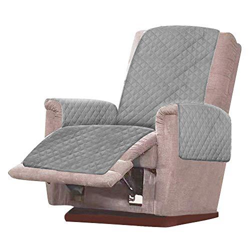 Your's Bath Sesselschoner Sesselauflage für relaxsessel Sofaüberzug Sesselüberwurf Zweiseitiger mit Verstellbaren Trägern (1 Sitzer) Schonbezug Möbelschutz (Grau)