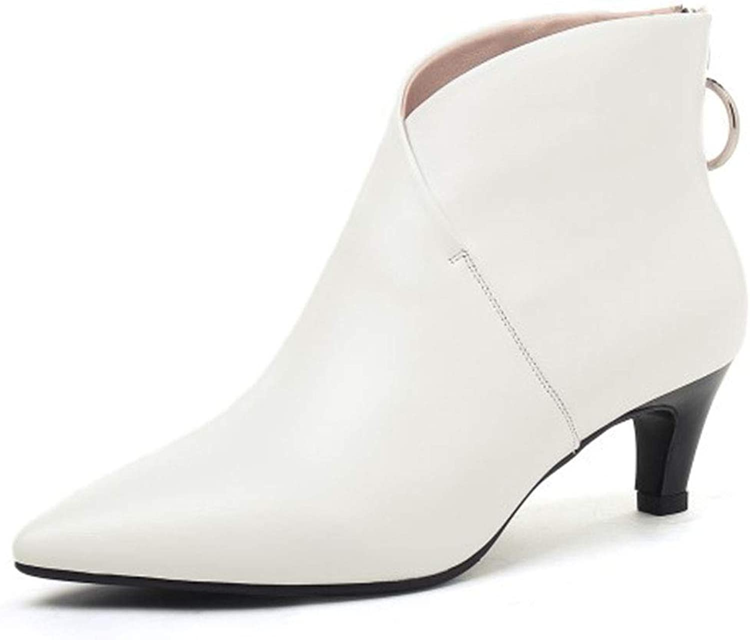 Women's Pointed High Heels Fashion Warm Boots Work shoes Black White