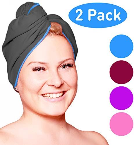 Haarhanddoek microvezel - absorberend en sneldrogend - Speciale tulband handdoek en haarhanddoek (Donkergrijs-Blauw- 2 Stuk)