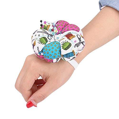 Alfombrilla de coser Costura floral Diseño de calabaza Kit de costura Alfileres de almacenamiento para la bandeja extraíble Alfiletero incorporado Cojín Nociones Paquete Muñequera Decoración(#1)
