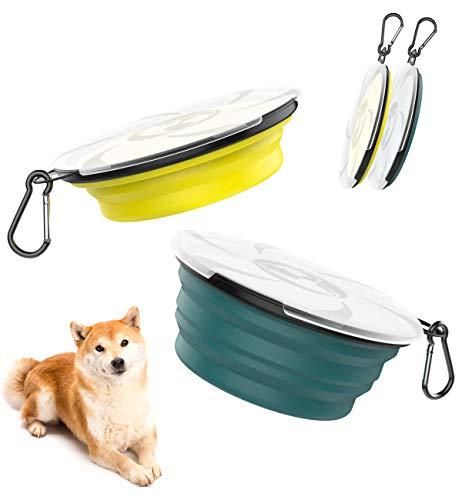 Lewondr 450ml Platos Plegables de Viaje para Mascotas, [2PZS]Tazón Portable de Silicona...