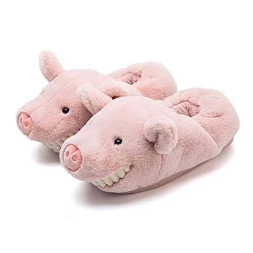 unlockgift Pink Fuzzy Grini Zähne Schwein Hausschuhe Damen Hausschuhe Warm Winter Hausschuhe Indoor Outdoor Anti-Rutsch Schuhe, Pink - Rose - Größe: 39/40 EU